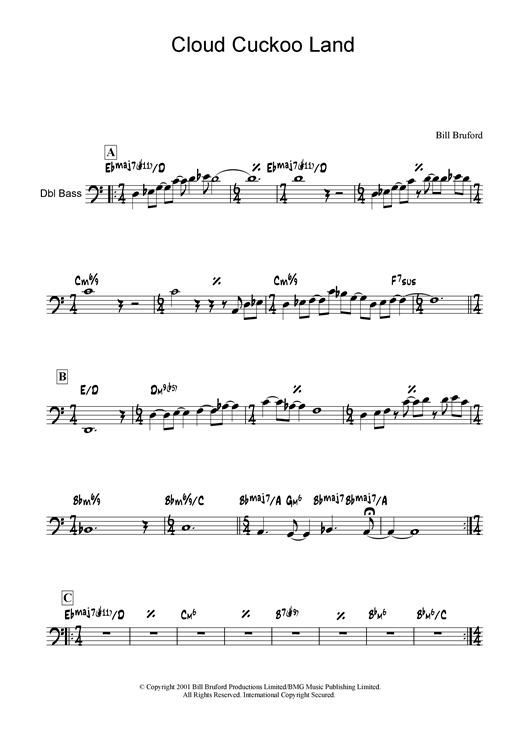 Bill Bruford Cloud Cuckoo Land sheet music notes and chords