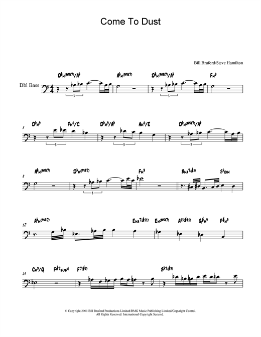 Bill Bruford Come To Dust sheet music notes and chords