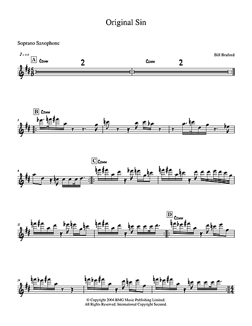Bill Bruford Original Sin sheet music notes and chords