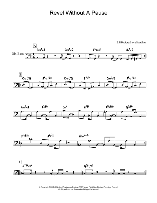 Bill Bruford Revel Without A Pause sheet music notes and chords