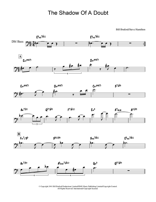 Bill Bruford The Shadow Of A Doubt sheet music notes and chords