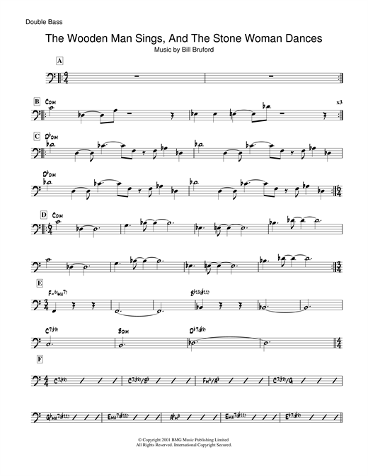 Bill Bruford The Wooden Man Sings And The Stone Woman Dances sheet music notes and chords
