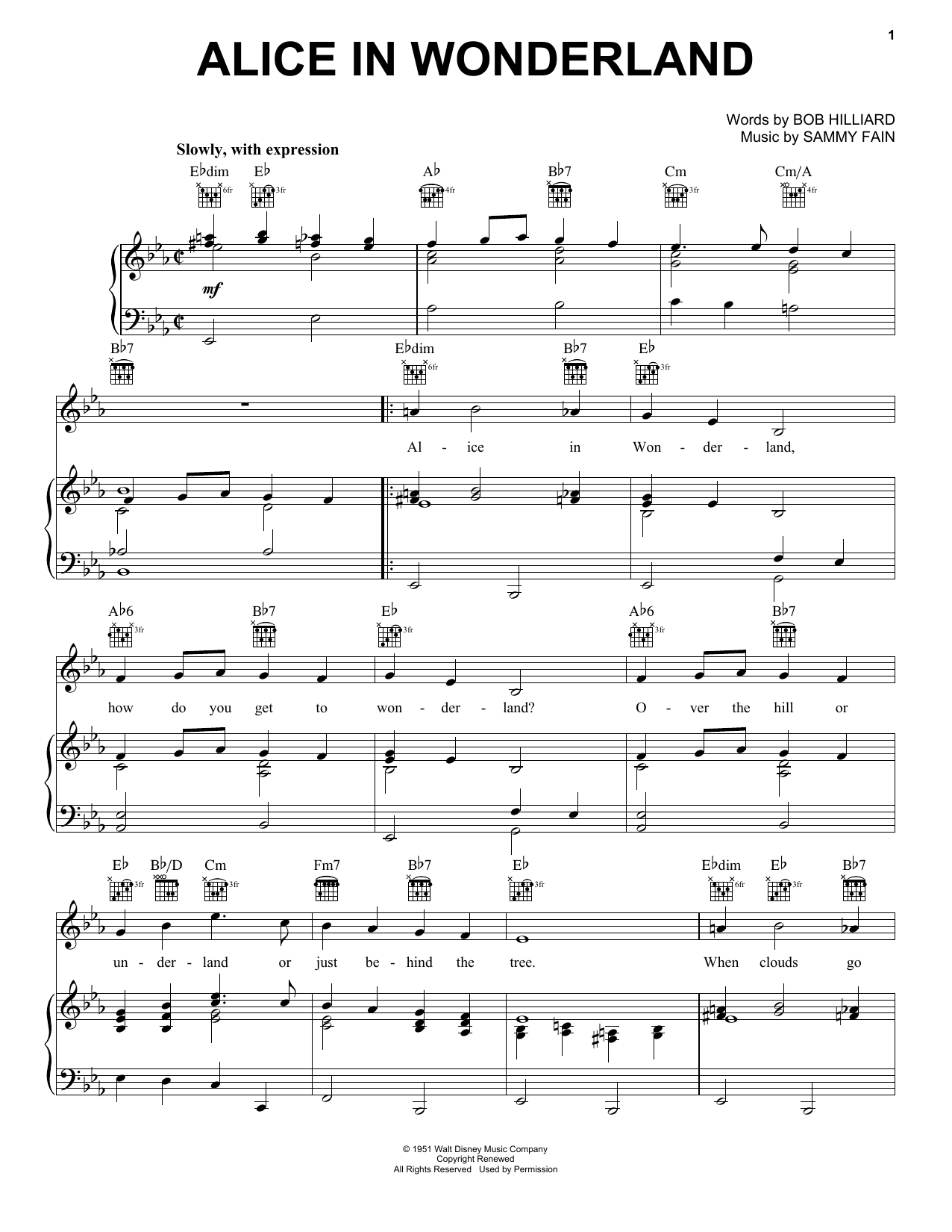 Bill Evans Alice In Wonderland sheet music notes and chords. Download Printable PDF.