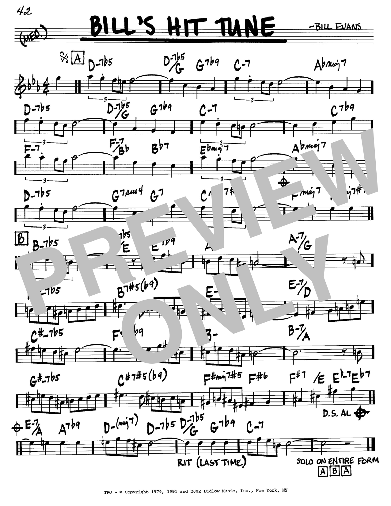 Bill Evans Bill's Hit Tune sheet music notes and chords. Download Printable PDF.