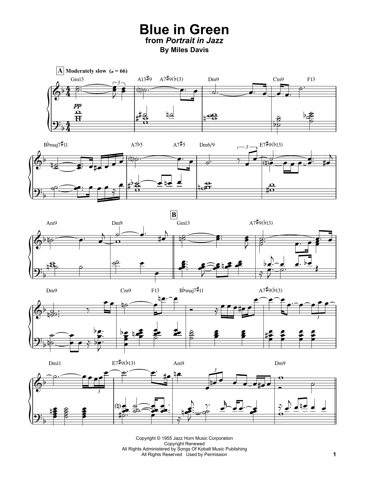 Bill Evans Blue In Green sheet music notes and chords. Download Printable PDF.