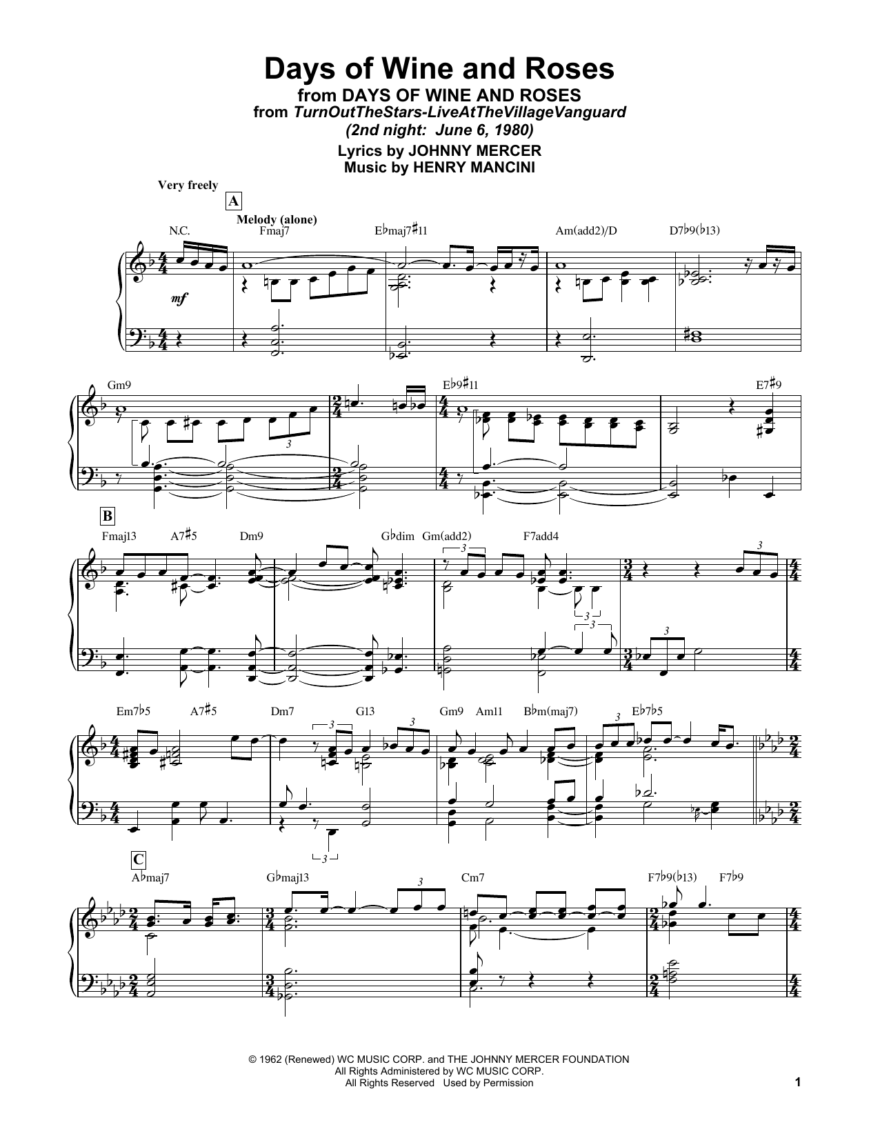 Bill Evans Days Of Wine And Roses sheet music notes and chords. Download Printable PDF.