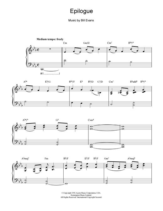 Bill Evans Epilogue sheet music notes and chords