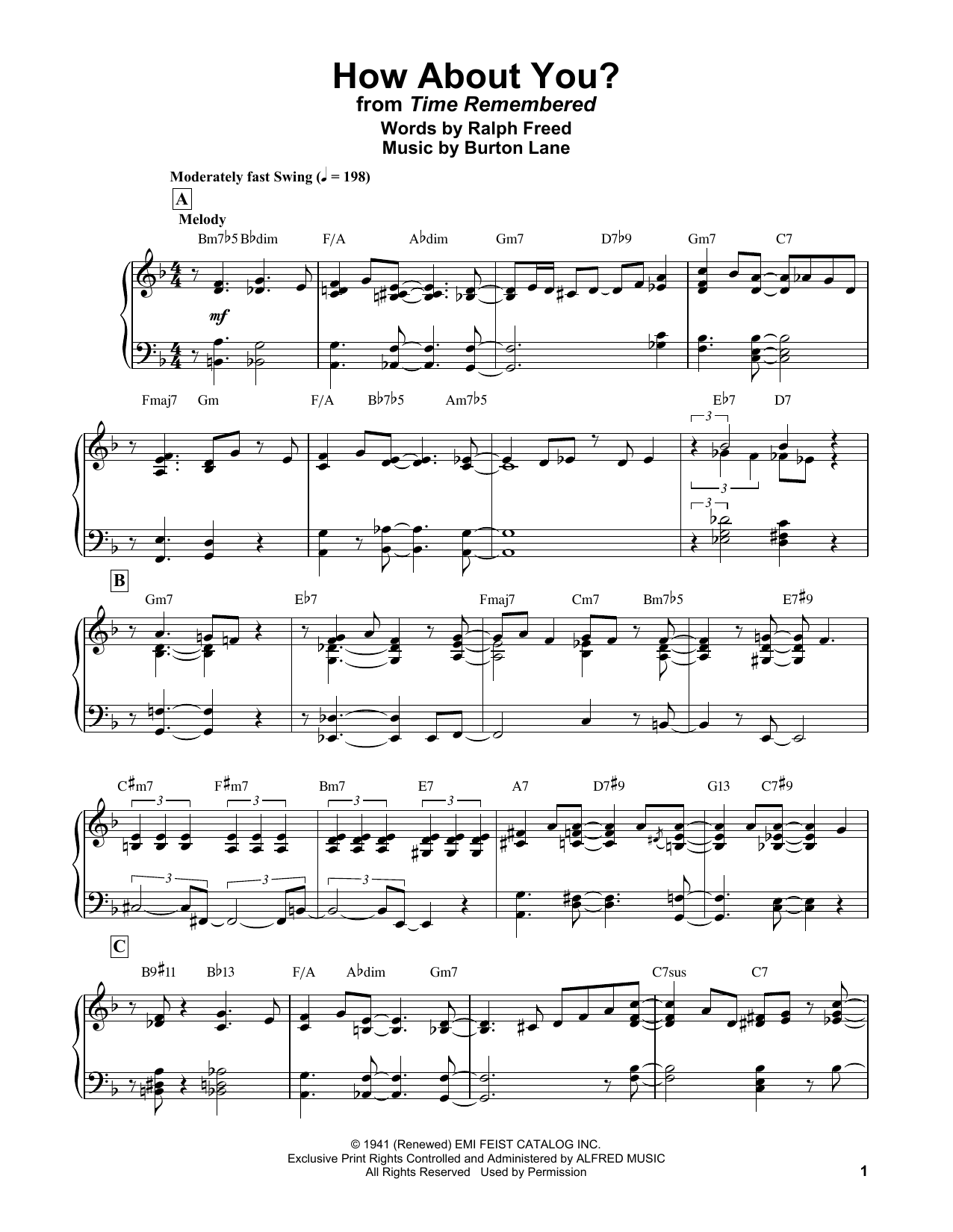 Bill Evans How About You? sheet music notes and chords. Download Printable PDF.