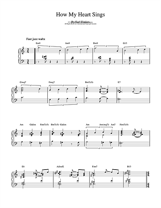 Bill Evans How My Heart Sings sheet music notes and chords
