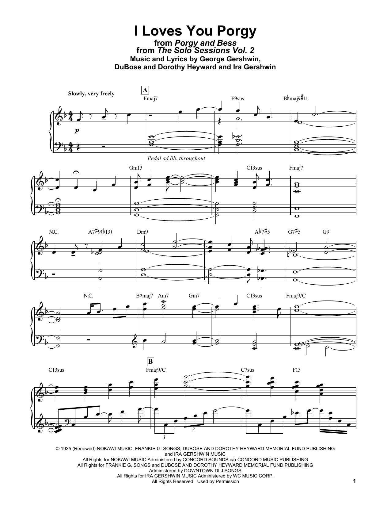 Bill Evans I Loves You, Porgy (from Porgy and Bess) sheet music notes and chords. Download Printable PDF.
