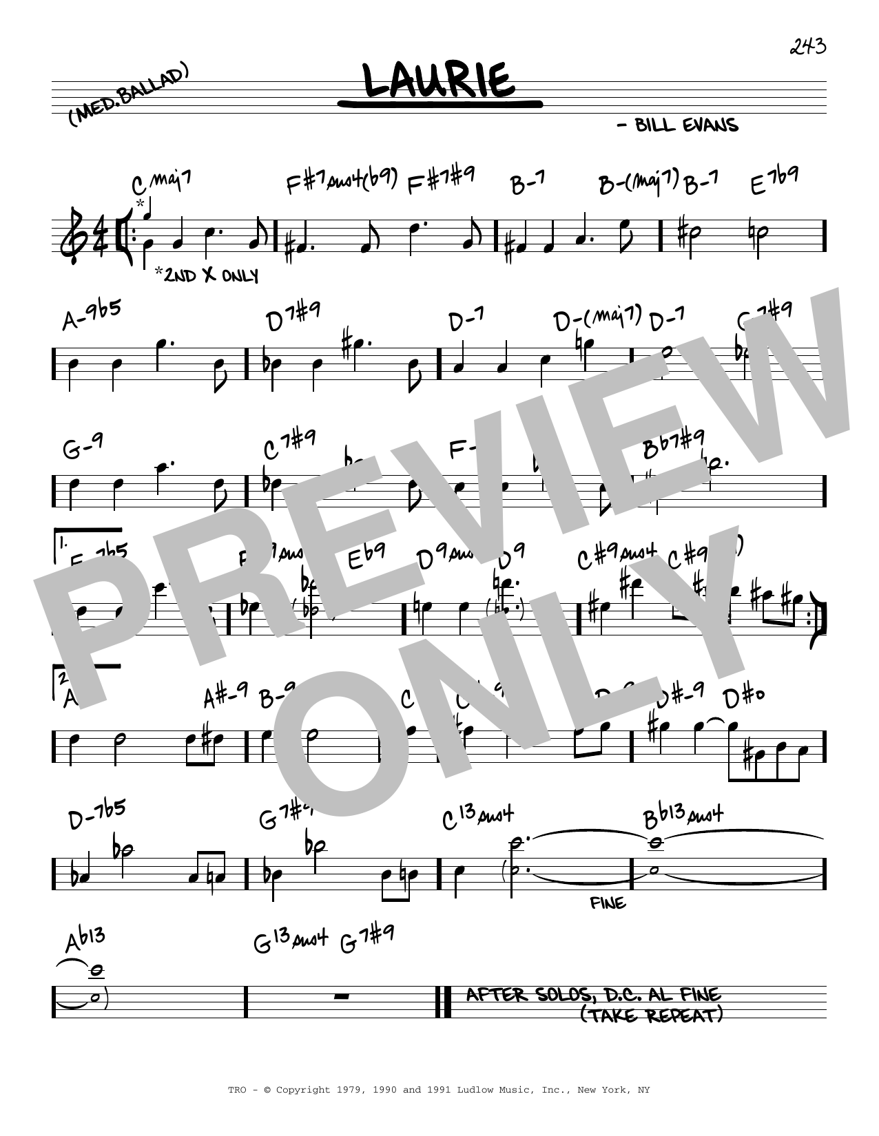 Bill Evans Laurie sheet music notes and chords. Download Printable PDF.