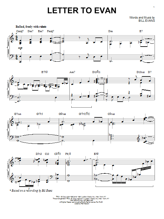 Bill Evans Letter To Evan sheet music notes and chords. Download Printable PDF.