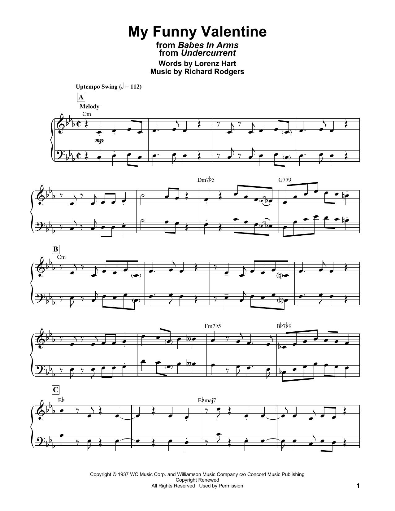 Bill Evans My Funny Valentine (from Babes In Arms) sheet music notes and chords. Download Printable PDF.