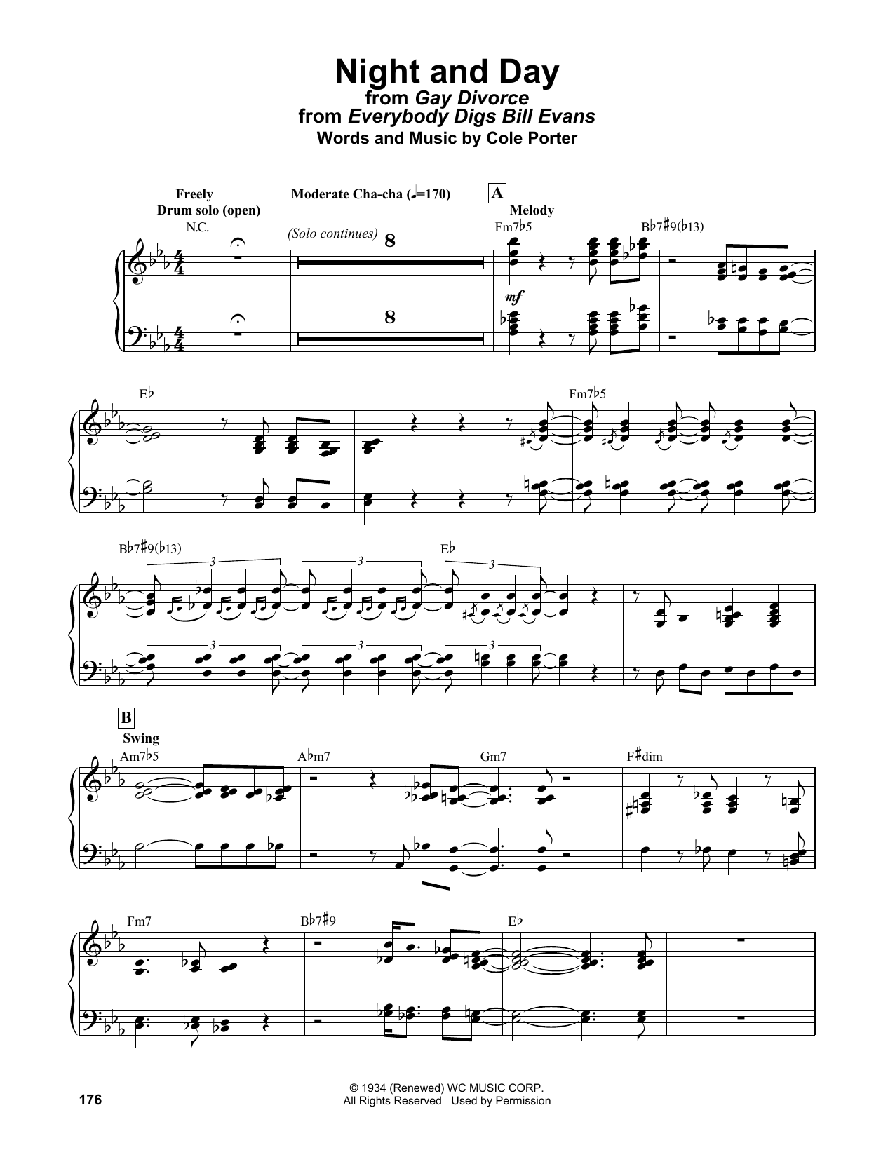 Bill Evans Night And Day (from Gay Divorce) sheet music notes and chords. Download Printable PDF.