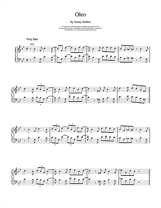 Bill Evans Oleo sheet music notes and chords