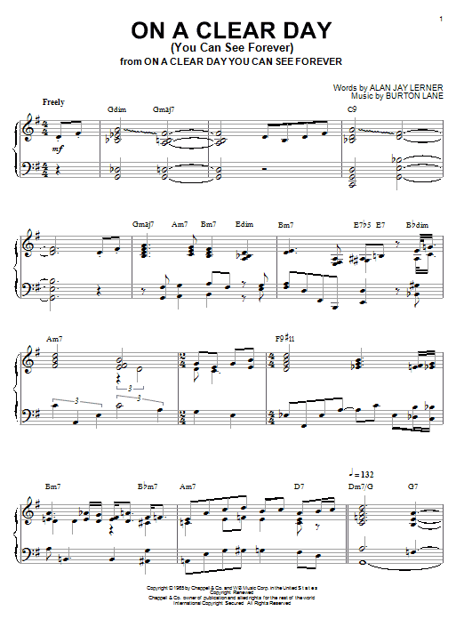 Bill Evans On A Clear Day (You Can See Forever) sheet music notes and chords