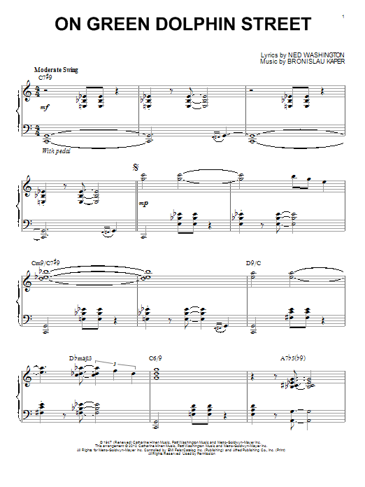 Bill Evans On Green Dolphin Street sheet music notes and chords