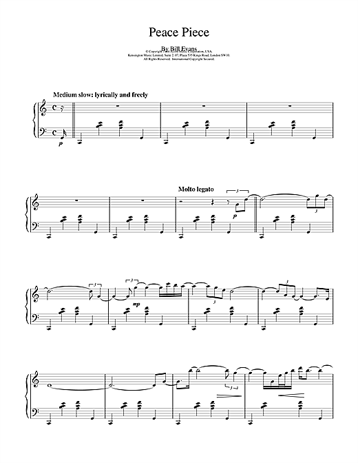 Bill Evans Peace Piece sheet music notes and chords. Download Printable PDF.
