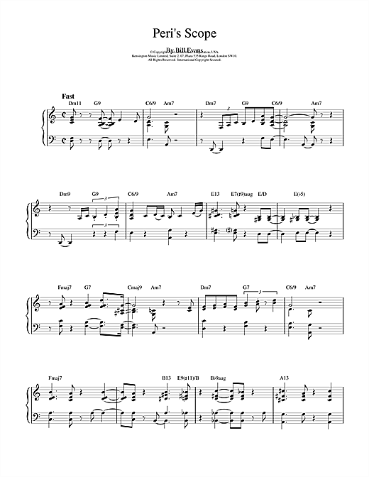 Bill Evans Peri's Scope sheet music notes and chords