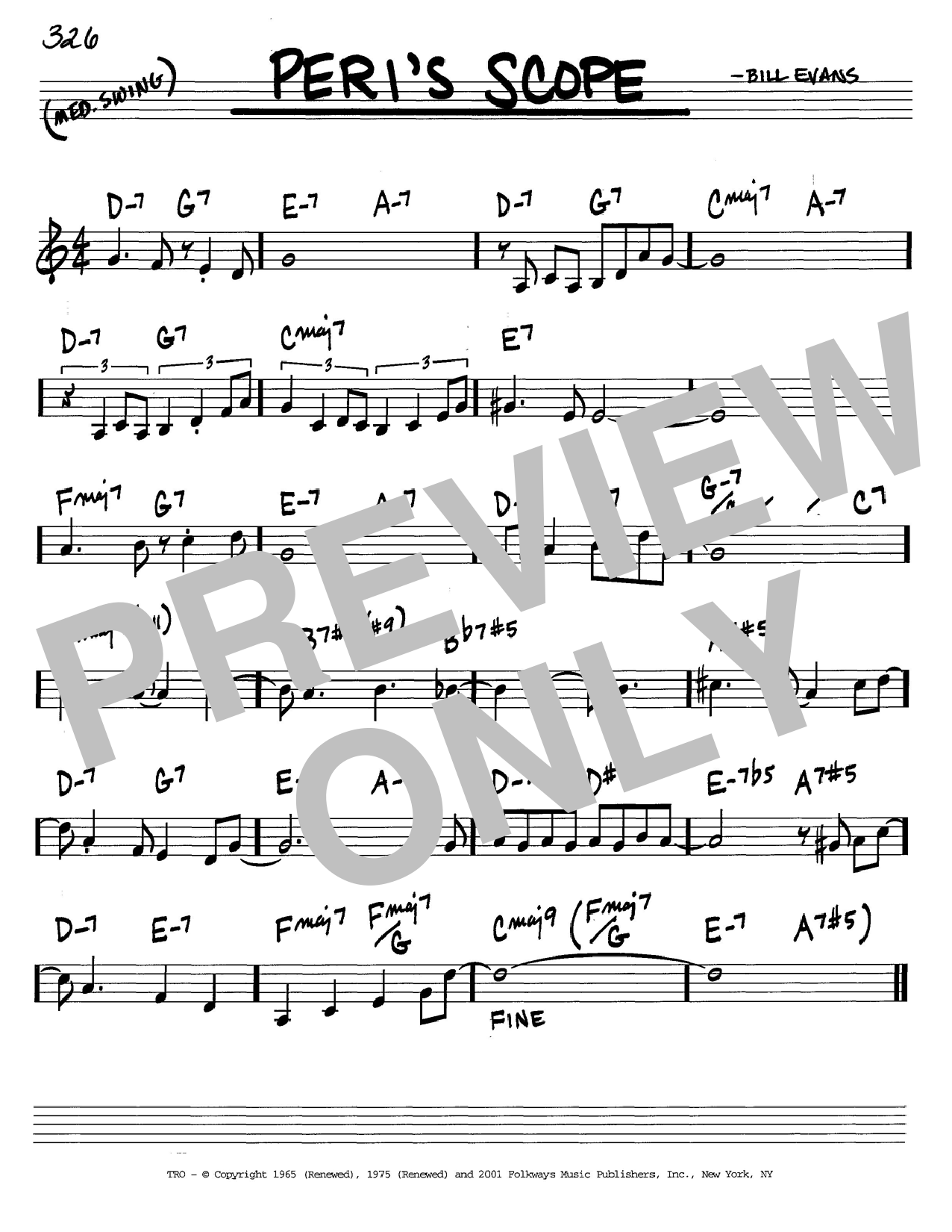 Bill Evans Peri's Scope sheet music notes and chords. Download Printable PDF.
