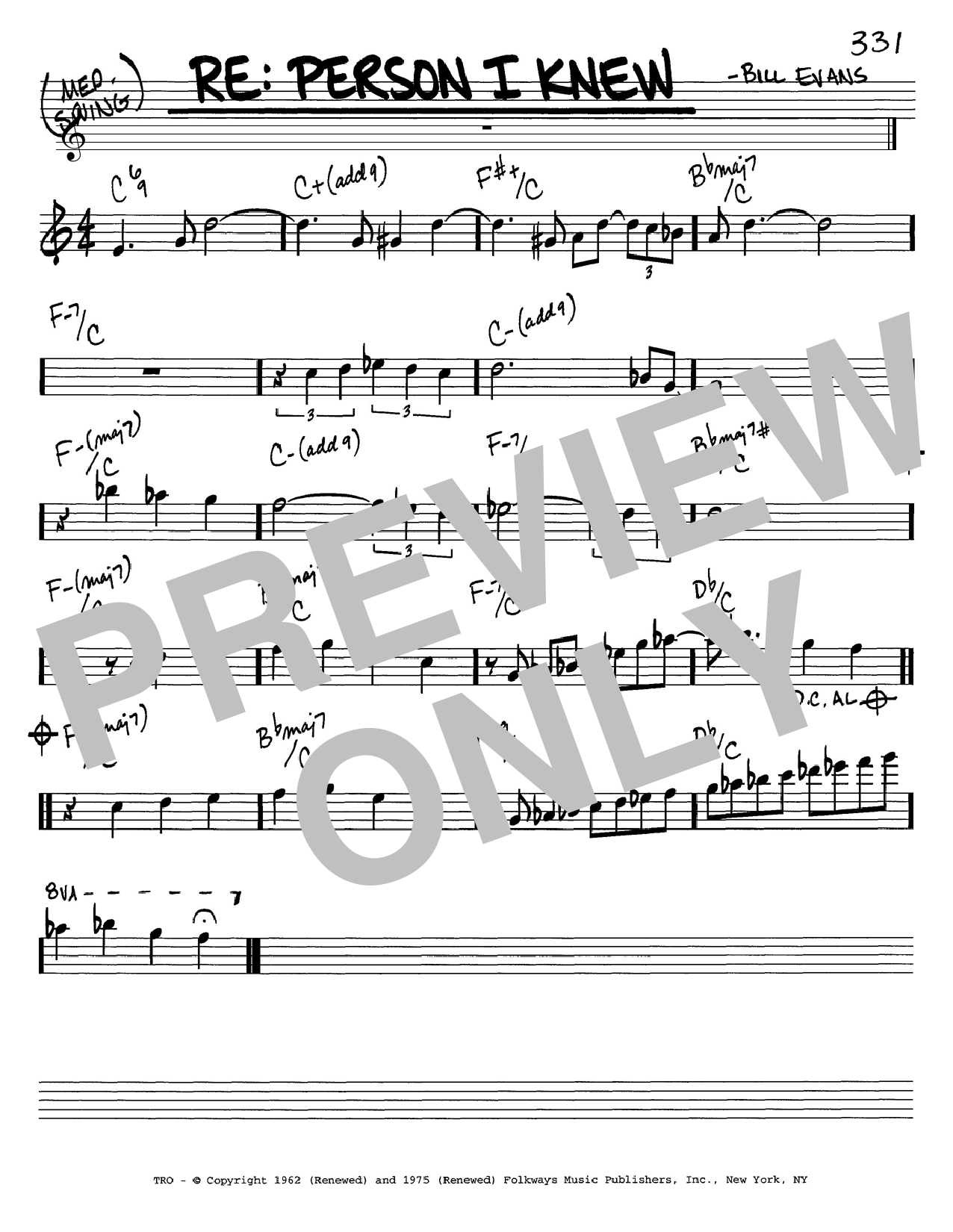 Bill Evans Re: Person I Knew sheet music notes and chords. Download Printable PDF.