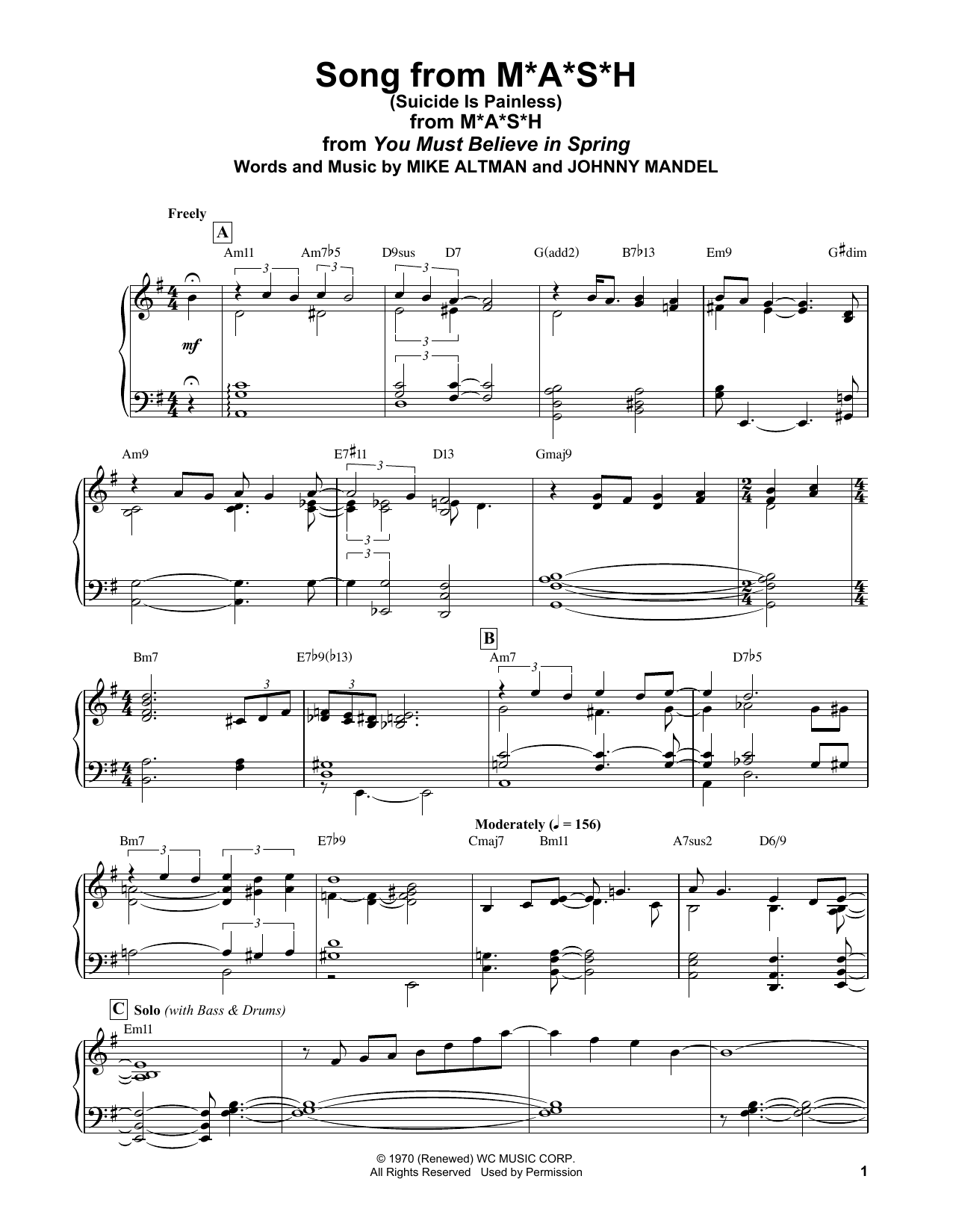 Bill Evans Song From M*A*S*H (Suicide Is Painless) sheet music notes and chords. Download Printable PDF.