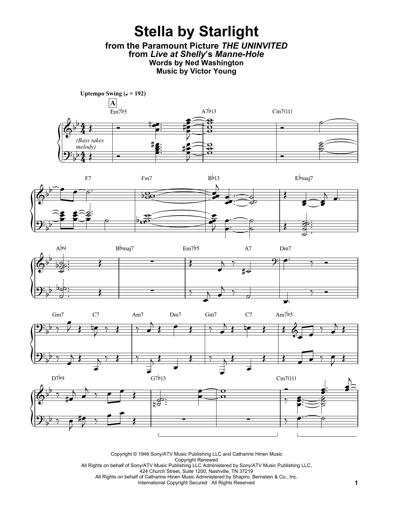 Bill Evans Stella By Starlight (from The Uninvited) sheet music notes and chords. Download Printable PDF.
