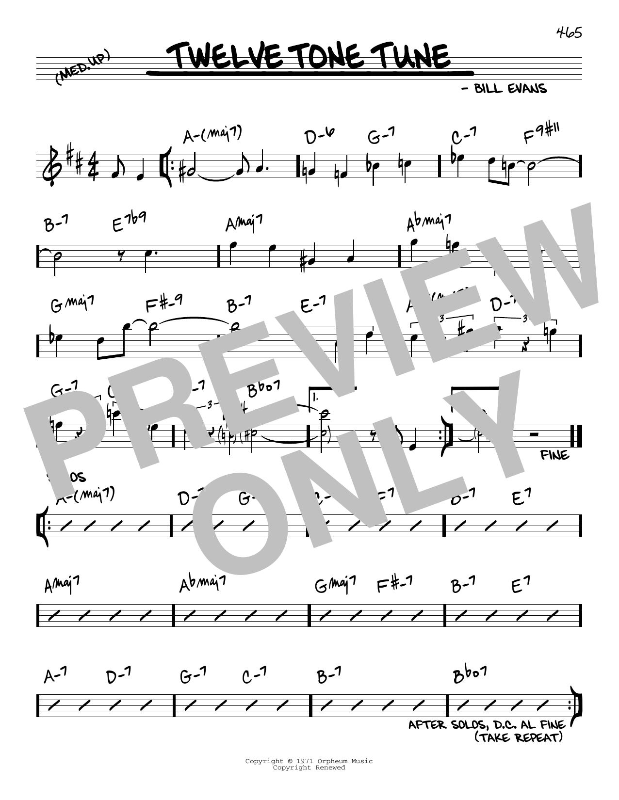 Bill Evans Twelve Tone Tune sheet music notes and chords. Download Printable PDF.