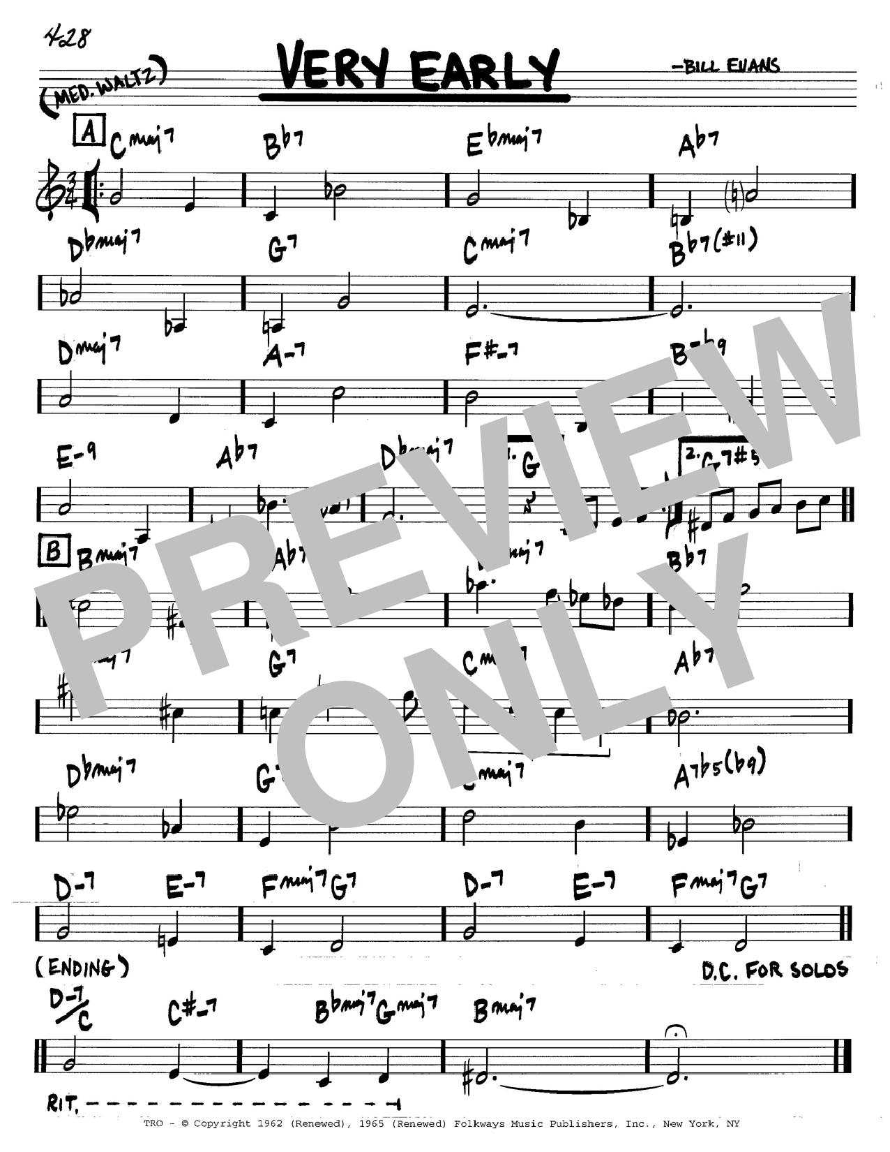Bill Evans Very Early sheet music notes and chords. Download Printable PDF.