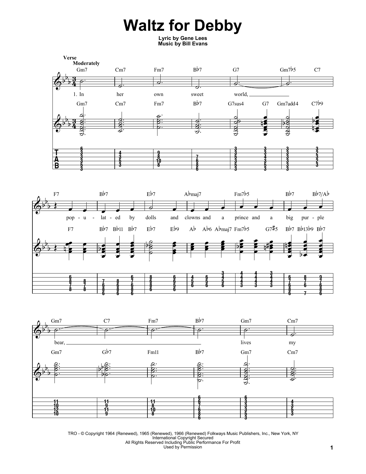 Bill Evans Waltz For Debby sheet music notes and chords. Download Printable PDF.