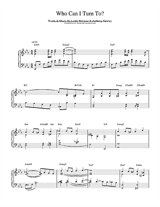 Bill Evans Who Can I Turn To sheet music notes and chords
