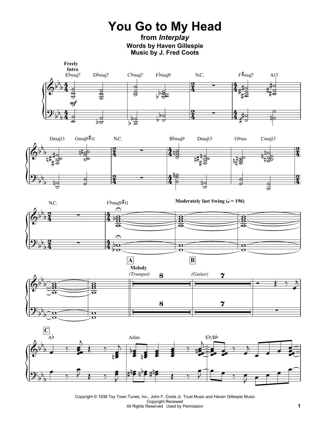 Bill Evans You Go To My Head sheet music notes and chords. Download Printable PDF.