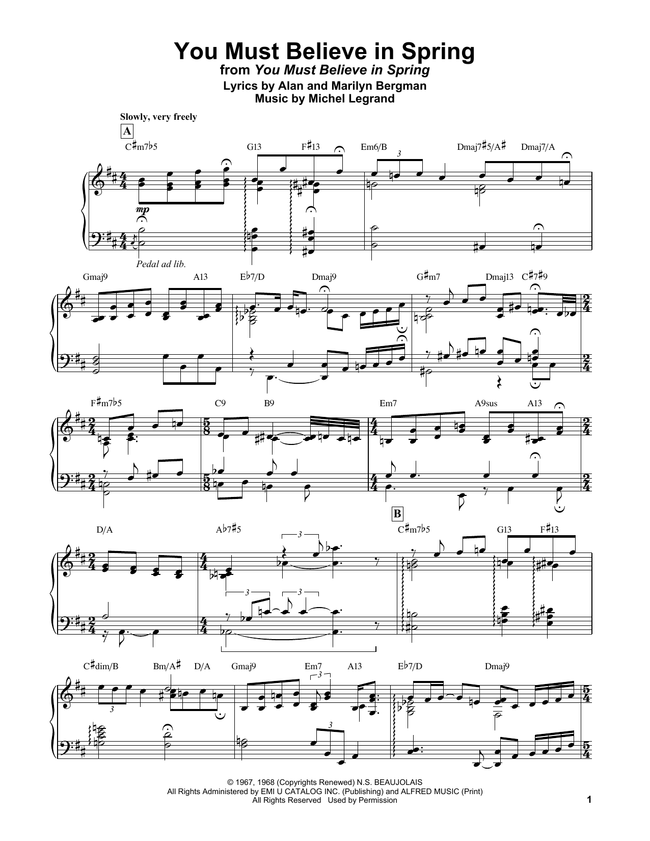 Bill Evans You Must Believe In Spring sheet music notes and chords. Download Printable PDF.