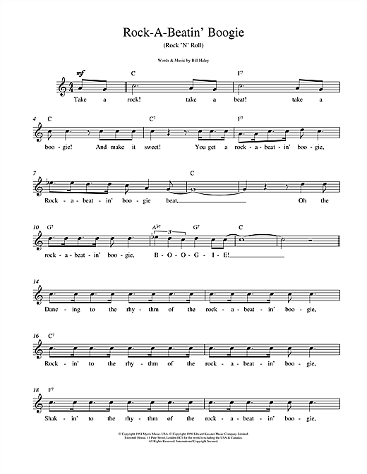 Bill Haley Rock A Beatin Boogie sheet music notes and chords. Download Printable PDF.