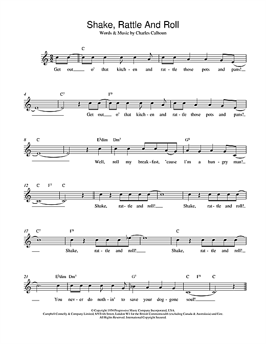Bill Haley Shake, Rattle And Roll sheet music notes and chords. Download Printable PDF.