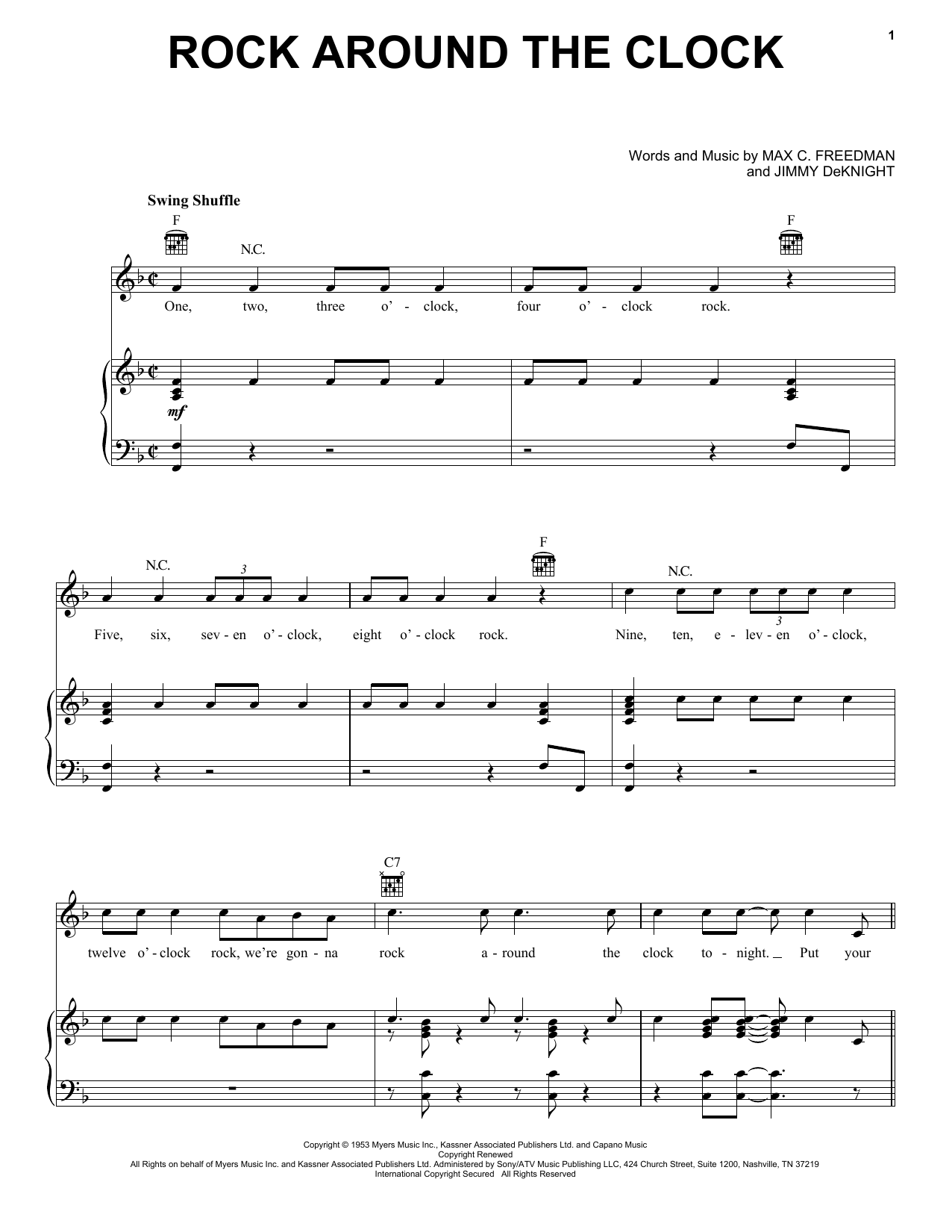 Bill Haley & His Comets Rock Around The Clock sheet music notes and chords. Download Printable PDF.