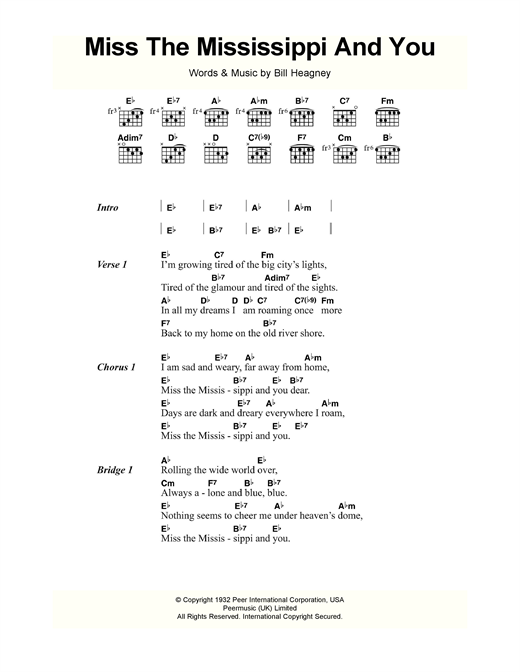 Bill Heagney Miss The Mississippi And You sheet music notes and chords. Download Printable PDF.