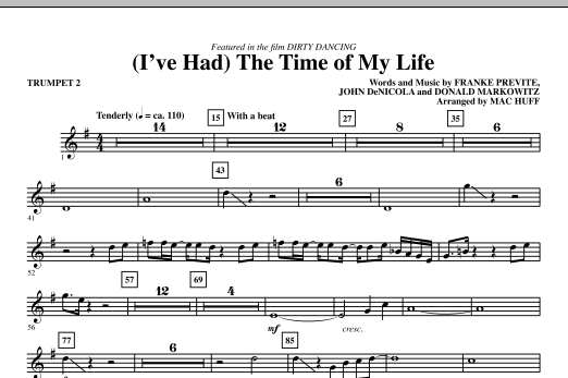 Bill Medley & Jennifer Warnes (I've Had) The Time Of My Life (arr. Mac Huff) - Trumpet 2 sheet music notes and chords. Download Printable PDF.
