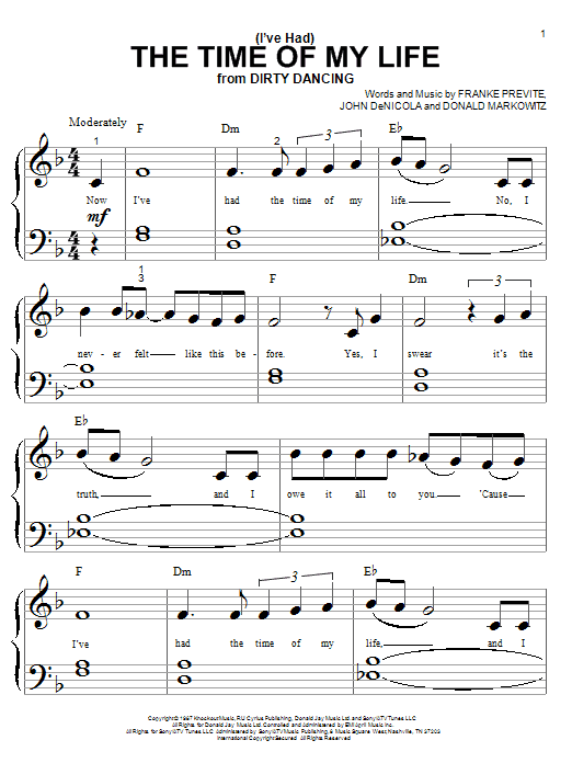 Bill Medley and Jennifer Warnes (I've Had) The Time Of My Life sheet music notes and chords. Download Printable PDF.