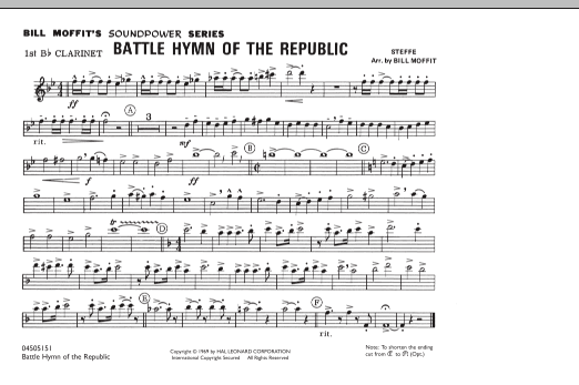 Bill Moffit Battle Hymn Of The Republic - 1st Bb Clarinet sheet music notes and chords. Download Printable PDF.