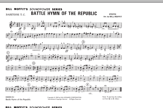 Bill Moffit Battle Hymn Of The Republic - Baritone T.C. sheet music notes and chords. Download Printable PDF.