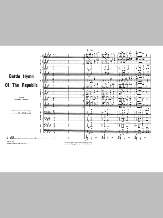 Bill Moffit Battle Hymn Of The Republic - Conductor Score (Full Score) sheet music notes and chords. Download Printable PDF.