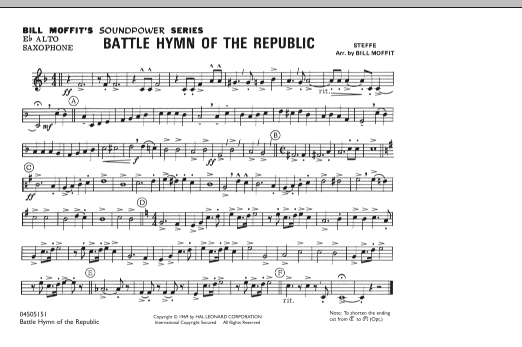 Bill Moffit Battle Hymn Of The Republic - Eb Alto Saxophone sheet music notes and chords. Download Printable PDF.