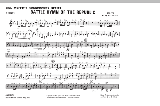 Bill Moffit Battle Hymn Of The Republic - F Horn sheet music notes and chords. Download Printable PDF.