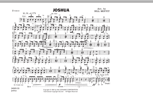 Bill Moffit Joshua - Drums sheet music notes and chords. Download Printable PDF.