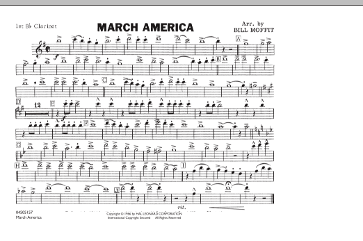 Bill Moffit March America - 1st Bb Clarinet sheet music notes and chords. Download Printable PDF.