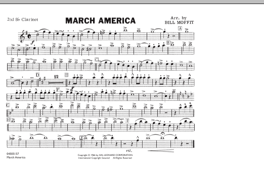 Bill Moffit March America - 2nd Bb Clarinet sheet music notes and chords. Download Printable PDF.