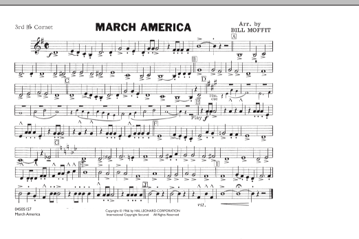 Bill Moffit March America - 3rd Bb Cornet sheet music notes and chords. Download Printable PDF.
