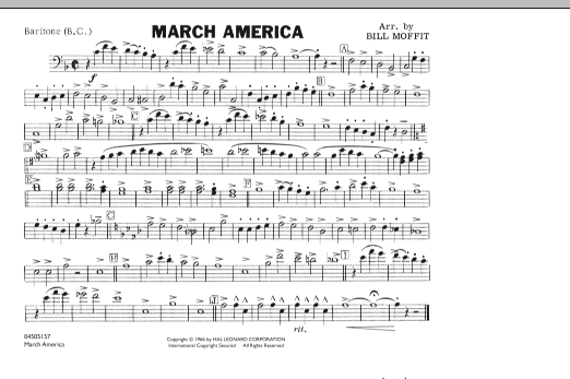 Bill Moffit March America - Baritone B.C. sheet music notes and chords. Download Printable PDF.