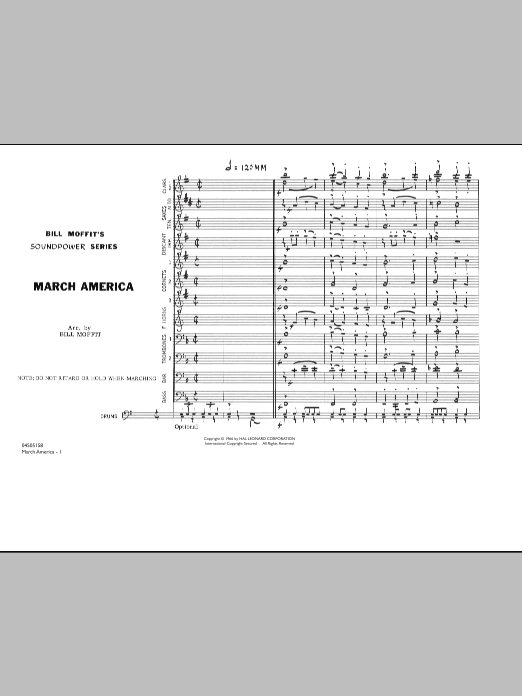 Bill Moffit March America - Conductor Score (Full Score) sheet music notes and chords. Download Printable PDF.
